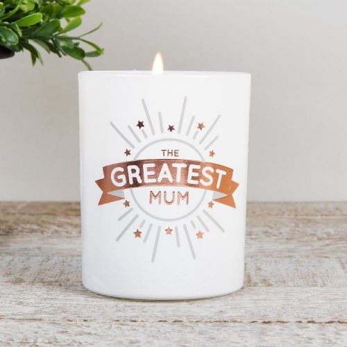 Greatest Mum Scented Candle Gift - White & Copper Ocean Fragranced Candle Gift For Mum